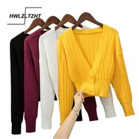 Hwlzltzht 2021 Primavera Malha Cardigan Mulheres Solta V Neck Sweater Cores Cores Longo Mangas Botão Cardigan Knitwear Jaqueta