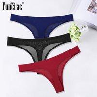 Sexy Thongs for Women Ice Silk G-String Panties Cotton Seamless Underwear Girls Ladies Bikini Briefs Lingerie Women 3 Pcs set