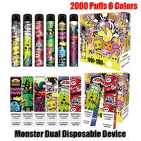 Autentyczny Monster Dual Jednorazowy zestaw Urządzeń 2000 Papturzy z prefiksem 6 ml 2 w 1 Pod Kit Vape Pen Oryginalny vs Bar Plus