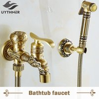 Bathroom Sink Faucets Uythner Antique Brass Dragon Style Wall Mounted Bidet Faucet W  Tap Mixer