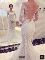 2021 Robe de mariage white tulle mermaid wedding dress off the shoulder vintage lace appliques stylish bride dresses court train v neck illusion bridal gowns