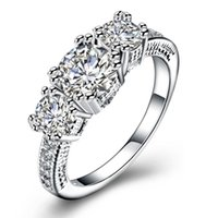 Wedding Rings Fashion Jewelry Silver Color Ring White Cubic Zirconia Gift Party Anniversary Engagement For Women R2143