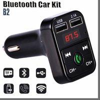 Bluetooth Headset B2 Bluetooth Car FM Transmitter Handsfree Bluetooth Car Kit Adapter USB Charger Mp3 Player Radio Kits Support Call