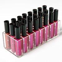 24 Lattices Acrylic Lipstick Storage Box Lip Gloss Brush Organizer Makeup Nail Polish Container Cosmetics Display Rack Holder Bathroom Space Saver