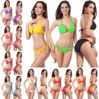 Swimwear de verão para mulheres biquíni conjunto dois pedaço tankini womens swimsuits sexy elemento de moda pétalas de cor sólida
