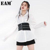 Рубашки для женщин Blouses [EAM] Женщины Нерегулярная молния кожа большие размеры блузка отворот длинный рукав свободная рубашка мода весна осенью 2021