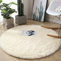 Carpets Alfombras White Round Carpet Soft Fluffy Faux Fur Rug For Living Room Bedroom Mat Plush Shaggy Nonslip Kids