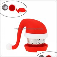 Coffee Tools Drinkware Kitchen, Dining Bar Home & Gardentea Infuser With Santa Hat Strainer And Steel Ball Food Grade Sile Tea Bags Filters