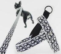 Hundegeschirr Kragen Leinen Verstellbare Atmungsaktive Haustier Weste Nylon Mode Designer Brief Gedruckt Outdoor Laufraining Halskette Seil Krawatte Kragen Liefert