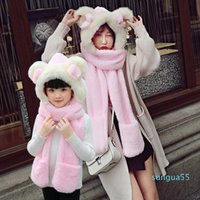 fashion Scarves 2021 Mother & Daughter Winter Warm Women Kids Hat Scarf And Glove Comfortable Faux Fur Scarfs Set Family Matching