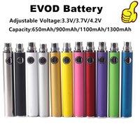 Evod аккумулятор для электронного сигарета регулируемое напряжение 3,3 В 3.7 В 4,2 В 510 резьба USB зарядки 650 мАч 900 мАч 1100 мАч 1300 мАч красочный