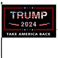 Trump 2024 Flag Take America Back 3x5 Foot Indoor Outdoor Decoration Banner Single Sided Banners With Vivid Patriotic Colors HHF10356
