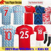 21 22 Manchester SANCHO camisas de futebol B. FERNANDES Fãs Player Versão UNITED CAVANI UTD VAN DE BEEK 2021 2022 RASHFORD camisa homem + kit infantil HUMANRACE quarto