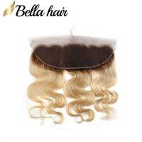 """Brazilian Virgin Human Hair Frontal Loira Lace Fechamento Frontal 13x4 """"1B / # 613 Orelha de cor para fechos de orelha no corpo a granel onda Bella cabelo"""