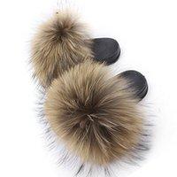 Coolsa pantoufles véritables glissades de fourrure moelleux sandales de cheveux de renard moelleux femmes plats FUZZY HOME FLIP Flop Beach chaussures