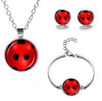 Ladybug Dog Paw Pendant Necklace Bracelet And Earrings Set Moon Necklaces For Birthday Party Gift Jewelry Sets