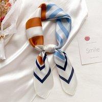Fashion Silk Hair Scarf For Women Small Shawls Floral Print Kerchief Bandana Head Scarfs Female 70cm*70cm Bag Scarves For Ladies