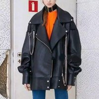 Women's Jackets LANMREM 2021 Spring Women Fashion Original Styles Turn-down Collar Lantern Sleeves High Quality PU Leather WJ541