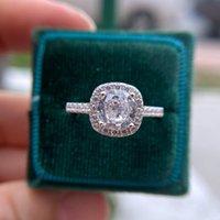 Anéis de cluster GZXSJG Natural Moissanite para as mulheres 1.2ct 7.0mm rodada corte GRA Diamante teste passado garra de moda configuração de casamento anel de casamento presente