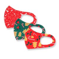 ニューグリーンレッドアイスシルクコットンクリスマスマスククリスマスツリープリントマスク再利用可能な成人クリスマスギフト保護マスク