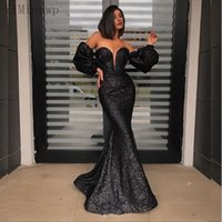 Black Sequined Mermaid Evening Dresses Off Shoulder Long Puff Sleeve Sweep Train Formal Women Prom Party Gowns vestidos de noche Customized