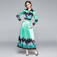 Luxury Retro Print Green Maxi Dress 2021 Women Designer Long Sleeve Lapel Casual Party Button Shirt Dresses Spring Autumn Office Lady Runway Slim A-Line Pleated Frock