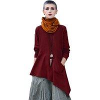 Vintage Frauen Solide lange Bluse Lange Ärmel Tasche V-Ausschnitt Asymmetrie Saum Übergroße Leinen Hemden Plus Größe Lose Robe Femme 2021