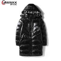 Lüks marka erkek aşağı ceket wwkk erkekler kış aşağı ceket şık büyük sıcak ultra hafif uzun ceket parka kapüşonlu parlak ceketler boy