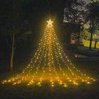 Strings LED Five-pointed Star Waterfall Light Christmas Hanging Tree Water Garden Remote Control Solar