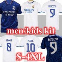 S-4XL 21 22 Gerçek Madrid Ev Uzaktan Formalar Futbol Futbol Gömlek Alaba Tehlike Benzema Asensio Modric Marcelo Camiseta Erkekler + Çocuk Kiti 2021 2022 Üniforma