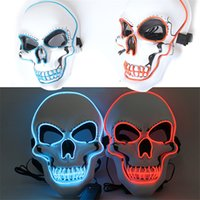 2021 Toy Halloween Skeleton Party LED Mask Glow Scary EL-Wire Skull Masks for Kids NewYear Night Club Masquerade Cosplay Costume
