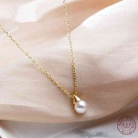 925 Sterling Silver Simple Pearl Dmall Triangle Bulb Pendant Necklace Women Wedding Dress Jewelry Accessories Birthday Gift