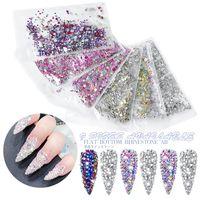 1440pcs Mix 9 Sizes Shine Crystal AB Glass Nail Rhinestone SS3#-SS20# Flat Back Round Nails Decoration Stones Non Hotfix Strass Diamond