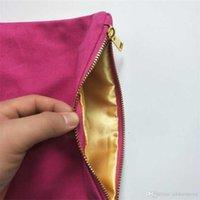 Borsa di trucco di colore massello di tela di cotone 12oz con fodera con zip dell'oro 6 * 9in cosmetico per stampa fai da te caldo rosa / navy / mint free dhl nave