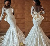 Nigerian African Full Lace Wedding Dresses With Back Bow Beading Long Sleeves 2021 Ivory Mermaid Engagement Wedding Bridal Gowns