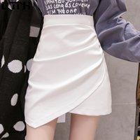 LTPH Fashion Mini Gonna coreana PU asimmetrica PU PULS PU PIEGHT Spalato High Vita Pacchetto Hip White Donne Gonne Gonne Autunno Nuovo 210305