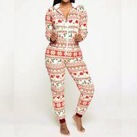 Women's Two Piece Pants Casual Jumpsuit Family Women Holiday Hooded Zipper Up Romper Jumpsuits Christmas Pyjamas Ladies Xmas Nightwear Pajam
