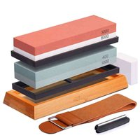 Two Stone Knife Sharpener Whetstone Kit for Chef Non-slip Bamboo Knives Grinder Stones Professional Kitchen Sharpening Set
