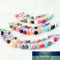 10pcs set Stainless Steel Belly Button Ring Navel Piercing Bar Body Jewelry Curved Barbell With Acrylic Pattern Ball