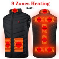Outdoor T-Shirts 9 Areas Heated Vest Jacket USB Men Winter Electrical Sleevless Fishing Hunting Waistcoat Hiking