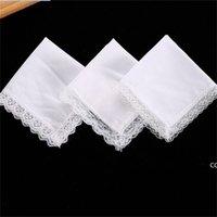 25 cm Weiße Spitze dünnes Taschentuch Baumwolltuch Frau Hochzeitsgeschenk Party Dekoration Tuch Serviette DIY Niemand leer dha6062