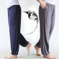 Pantalones de yoga modal de cintura elástica de pantalón hombres con bolsillos sueltos tai chi pantalones holgy yoga harem deportes ropa marcial jamón
