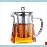 Drinkware Kitchen, Dining Bar Home & Gardenglass Teapot Heat Resistant Square With Tea Infuser Filter Milk Flower Pot Wine Glasses Drop Deli