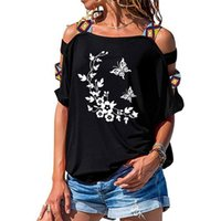 3D Butterfly Flowers Funny Printed Women T Shirts Loose Cotton Short Sleeve Fashion Hollow Out Shoulder Tees