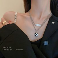 Amulet Pendants Korean Fashion Oil Dripping Black and White Checkered Bag Letter Double Layer Necklace Design Feeling Versatile Clavicle Chain Personalized