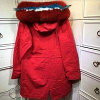 Snow Fur Brand Winter Lungo Bianco Blu Red Red Trim Trim Pelliccia di coniglio Fodera Alto Esterno Pelliccia Meifeng Cappotti Cold Parka Giacche FWRQC
