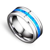 Alyans Moda 8mm Tungsten Karbür Yüzük Erkekler Kadınlar Için Mavi Opal Merkezi Oluk Paslanmaz Çelik Bant Hediyeler SZ6-13
