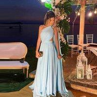 Party Dresses Simple Light Blue Satin Evening One Shoulder Pleats Cut-out Long Cape Sleeve Prom Gowns Women Plus Size