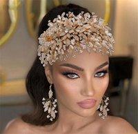 Luxo Casamento Nupcial Beads Headband Crown Crown Tiaras Cristal Rhinestone Brincos Jóias Conjunto de Jóias Moda Prom Bling Acessórios Acessórios Ornamento