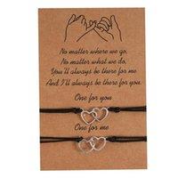 2 ШТ. / Установить двойное сердце очарование браслетов один для вас для меня один для меня черный струнный браслет браслет мужчины женщин